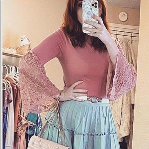 3/$12 Cable and Gauge Bell Sleeve Lace Top Blouse